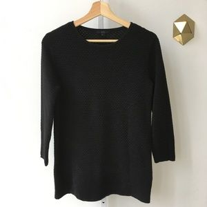 COS Textured 3/4 Sleeve Knit Top Shirt Black S